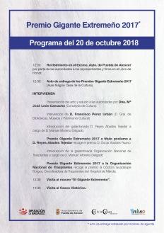 Programa del día Premios Gigante Extremeño 2017
